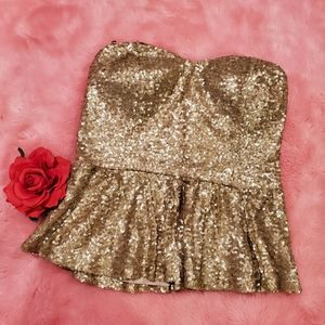 Forever 21 Gold sequin strapless top